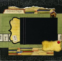 School Days - 12x12 Premade Scrapbook Page. $15.95, via Etsy.