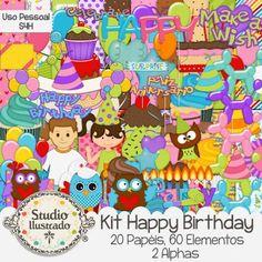 Happy Birthday Kit, Kit Happy Birthday, Feliz Aniversário, Festa, Party, Comemoração, Comemoration, Bolo, Cake, Vela, Candle, Cupcake, Doces, Sweet, Candy, Bexigas, Balões, Balloons, Corujas, Owls, Make a Wish, Faça um Pedido, Diversão, Felicidade, Felicity, Kit Digital, Elementos, Papéis, Alpha, Digital Kit, Elements, Papers