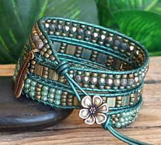 Items similar to Green and Teal Patina Beaded Leather Multi Wrap Bracelet, Tile and Crystal Luxe Artisan Jewelry, Unique Gift For Her on Etsy - - Leather Jewelry, Jewelry Box, Jewelry Making, Jewelry Ideas, Beaded Wrap Bracelets, Crochet Bracelet, Crystal Beads, Crystals, Unique Gifts For Her