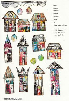 Instant digital download - collaged houses