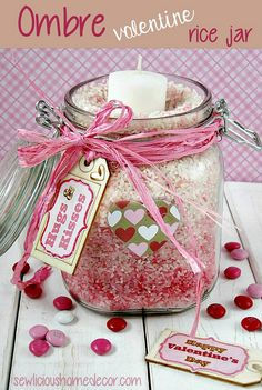 Ombre Valentine Rice Jars. Easy and inexpensive tutorial! sewlicioushomedecor