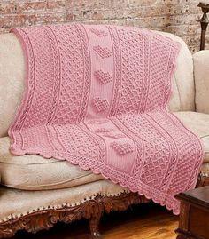 aran hearts throw free crochet afghan pattern on Ravelry Crochet Afghans, Motifs Afghans, Afghan Crochet Patterns, Knit Or Crochet, Crochet Blankets, Crochet Round, Baby Girl Crochet Blanket, Baby Girl Blankets, Crochet Baby
