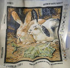 Ehrman Needlepoint Canvas Rabbits by Kaffe Fassett~~about 3/4 done with this one.