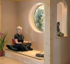 like the raised part with small wall cutout (bedroom meditation area?)