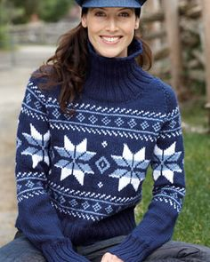 Winter-themed pullover in shifting blues. Shown in Bernat Satin.