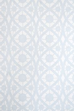 Geometric Lace Wallpaper Small design white wallpaper with Pale Blue lace print.