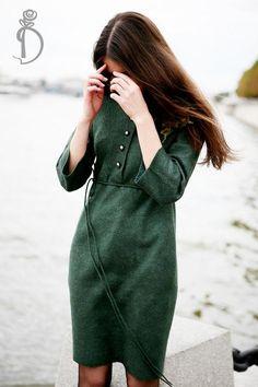 Валяное платье «Осень в городе» - тёмно-зелёный,street style,валяное платье