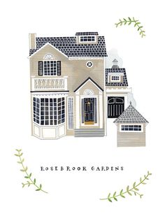 """Etsy seller Rebekka Seale does custom """"portraits"""" of your house. Such a cute gift idea for someone moving away or buying a new home, anniversary etc..."""