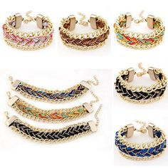 Fashion Womens Cords Braided Metal Link Chain Bracelet Wide Cuff Bangle Charms Jewelry From Happytraveltime, $6.64 | Dhgate.Com
