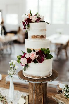 Zandra Barriga Photo wedding ideas naked cake wedding table setting wedding cake spring wedding wedding photo ideas utah wedding utah wedding photographer floral wedding cake blush and burgundy wedding Country Wedding Cakes, Floral Wedding Cakes, Wedding Cake Rustic, Fall Wedding Cakes, Wedding Cake Designs, Wedding Ideas, Wedding Flowers, Floral Cake, Rustic Weddings