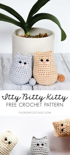 The itty bitty crochet kitty is the cutest little crochet cat pattern. It works … The itty bitty crochet kitty is the cutest little crochet cat pattern. It works up very quickly (great for beginners!) and would make the sweetest gift for any cat lover Chat Crochet, Crochet Cat Toys, Crochet Mignon, Crochet Cat Pattern, Crochet Dolls, Crochet Baby, Free Crochet, Free Pattern, Diy Crochet And Knitting