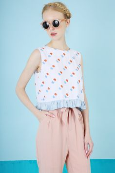 Peplum Crop Top Ice Cream Print http://www.thewhitepepper.com/collections/tops/products/peplum-crop-top-ice-cream-print Linen Trousers Pale Pink http://www.thewhitepepper.com/collections/bottoms/products/linen-trousers-pale-pink