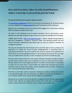 Hass and Associates Cyber Security Sound Business Advice: Seven tips to proactively prevent fraud