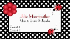 Stylish Red and Black Polka Dots and Cute Ladybugs Mommy Calling Cards http://www.zazzle.com/stylish_polka_dots_ladybugs_mommy_calling_card_double_sided_standard_business_cards_pack_of_100-240579512320076062?rf=238835258815790439&tc=GBCMommy1Pin