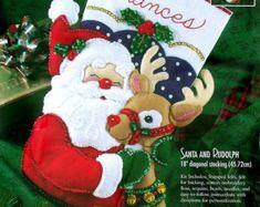 Santa y Rudolph completaron media fieltro por GrandmasStitchings