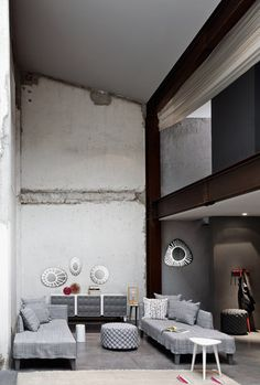 Up-Gervasoni-Paola Navone//Repinned via Decorget Warehouse Apartment, Paola Navone, Loft, Living Room, Mirror, Apartments, Interior, Table, Inspire
