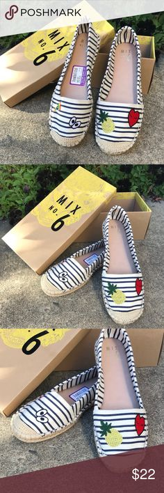 Mix No. 6-Lemma Patch Slip-On  Women's Size 8.5 BRAND NEW WITH TAGS! Never worn! SO cute!!   Mix No. 6-Lemma Patch Slip-On Give your laid back casual style an update with Mix No. The Lemma patch slip-on is the perfect go-to flat to add a little fun to your outfit!    😍 Super cute patches! Rainbow 🌈, alien 👽, cherries 🍒, heart ❤️, pineapple 🍍!! Mix No. 6 Shoes Flats & Loafers