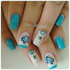 Uñas Short Nail Designs, Nail Art Designs, Fingernail Designs, Diva Nails, Butterfly Nail, Pretty Nail Art, Beautiful Nail Designs, Fancy Nails, Gorgeous Nails