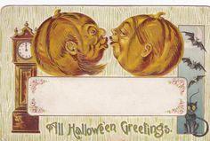 HALLOWEEN , Kissing Jack O'Lanterns , Black Cat , bats , 00-10s #Halloween