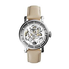 Women's Wrist Watches - Fossil Womens ME3069 Original Boyfriend Automatic Stainless Steel Skeleton Watch With White Leather Band ** Be sure to check out this awesome product. (This is an Amazon affiliate link)