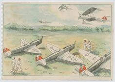 "NSFK color propaganda PC ""Motor air sport in the NSFK"". Shows NSFK men and airplanes on an airfield and flying above."