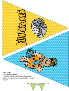 Flintstones printable party banner flags Fred and the Rock phone