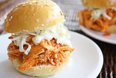 shredded buffalo chicken sliders with a blue cheese celery slaw