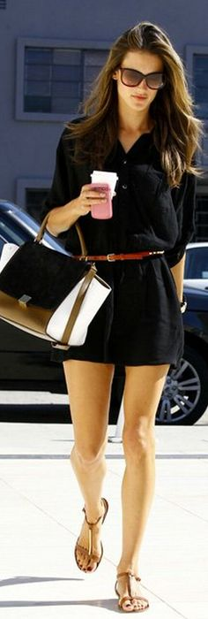 Black button down dress + skinny brown belt and sandals --- LOVE!!!
