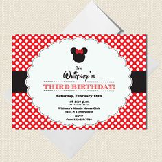Red Minnie Mouse Party invitations Disney by LittlePigPress. $15.00 USD, via Etsy.