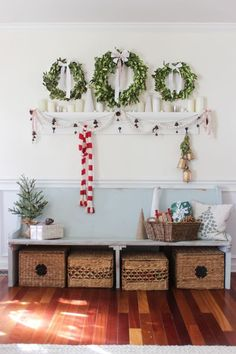 Christmas Wreaths, Holiday Decorations, Entrance Way Christmas, Multiple Wreath, Farmhouse Style, Rustic Style