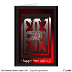 Employee Anniversary Cards 20 Years Red and Black