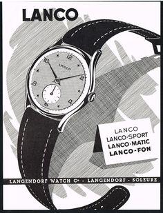 1950'S Vintage 1952 Langendorf Watch CO Lanco Watch MID Century ART Print AD | eBay Modern Watches, Stylish Watches, Vintage Watches, Watches For Men, Watch Drawing, Art Deco Watch, Man Suit, Original Vintage, Watch Ad