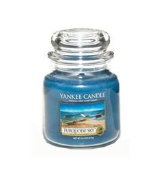Yankee Candle Turquoise Sky™ Medium Jar Candle 65 to 90 Hours of Fragrance Calm, salty air with hints of sea grass and musk, float gently on ocean waves . . . off on an adventure beneath a bright blue sky. #968015 $26.99 SOLD OUT www.lambertpaint.com