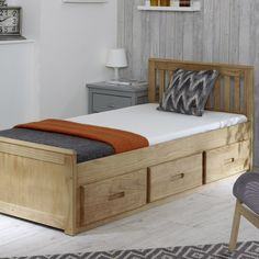 Storage Bed with Drawers White Wooden Pine Single Bed Bed Frame With Drawers, Bed Frame With Storage, Bed Storage, Bed Drawers, Beds With Storage Drawers, Wooden Bed With Storage, Bed Frame Design, Bed Design, Bedroom Furniture Placement