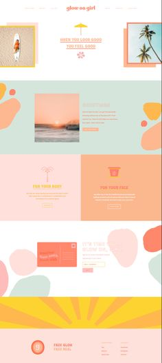 Custom colorful playful organic beauty brand and website design Tropical beach retro bold modern graphic fun branding design sunshine color feminine home page squarespace Café Branding, Business Branding, Corporate Branding, Branding Website, Creative Web Design, Web Design Tips, Web Design Trends, Graphic Design Websites, Modern Web Design