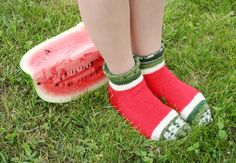 Handmade knitted watermelon socks, slippers.Basic sock pattern from Drops page.