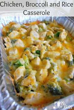 Cheesy Chicken and Broccoli Casserole with Butter. Yum! I've tried a couple different recipes that were good, but for some reason this one just seemed super simple and really tasty to me. I added a little bit of cumin to my soup mix and a little bit of lemon juice. Turned out really tasty!
