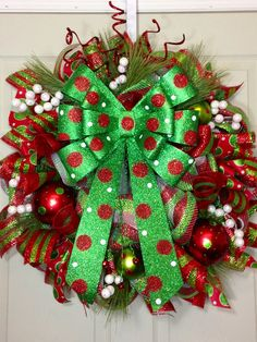 Christmas Mesh Wreath on Etsy, $99.00
