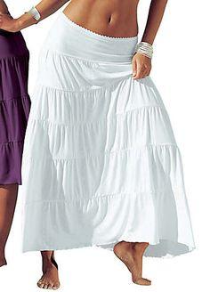Beachtime White Tiered Maxi Skirt