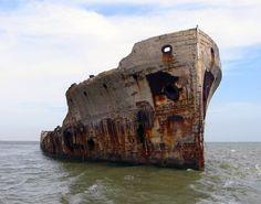 USS Selma concrete ship in Galveston Bay since 1922