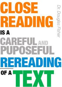 QUOTE~  Dr. Fisher's definition of close reading.  Check out the article.  No poster download available.