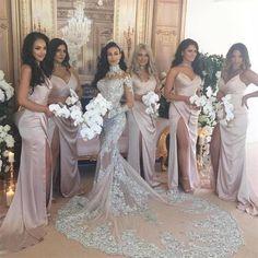 Spaghetti Strap Mermaid Side Split Simple Sexy Bridesmaid Dress, Wedding Party Dresses , WG232