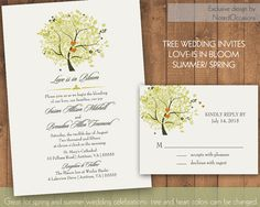 Oak Tree Wedding Invitations For Spring and Summer | Custom wedding invitation- tree invitation-customized wedding suite with tree by NotedOccasions, $35.00  For more insipiration visit us at https://facebook.com/theweddingcompanyni or http://www.theweddingcompany.ie