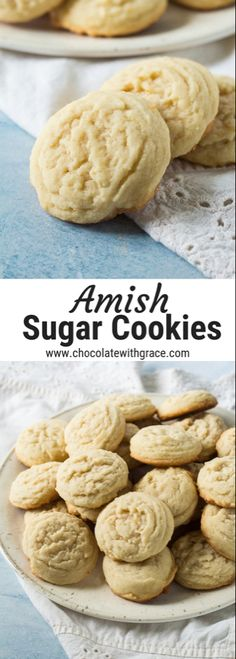 Amish Sugar Cookies – Chocolate With Grace Pennsylvania Dutch Amish Sugar Cookies. These old fashion cookies are soft and tender and are as easy as can be to make. They make a perfect christmas cookie and you can make them with icing if you want. Amish Sugar Cookies, Chocolate Chip Shortbread Cookies, Toffee Cookies, Sugar Cookie Frosting, Spice Cookies, Sugar Cookies Recipe, Yummy Cookies, Icing, Marshmallow Cookies