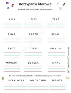 Karty pracy ucznia Rozsypanka literowa Montessori, Polish Language, Pin On, Asd, Worksheets, Classroom, Lettering, Education, School