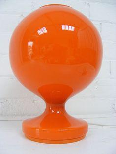 Vintage Modernist Mid Century Danish Holmegaard orange Glass Table Light Lamp