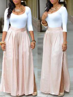 Casual U-shaped Neck Three Quarter Sleeves Side Split Pink Nylon Two-piece Pants Set Cute Fashion, Fashion Pants, Hijab Fashion, Fashion Dresses, Womens Fashion, Two Piece Pants Set, Affordable Clothes, Looks Style, Wholesale Clothing