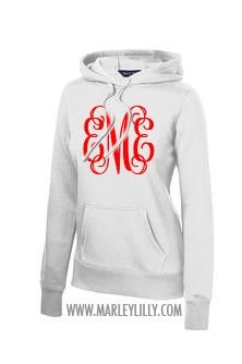 Monogrammed Pullover Hooded Sweatshirt: I would like it better if it was white with some other color on it