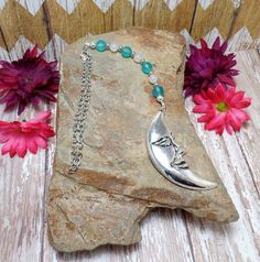 Crescent Moon Rear View Mirror Charm  Car by SpiritualPathways