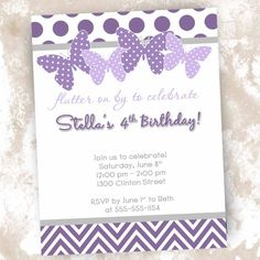 Printable Butterfly themed Birthday, Baby Shower or Bridal Shower Invitations- Customizable on Etsy, $12.00
